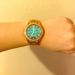 Fossil Stainless Steel Gold Watch with Teal Face